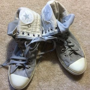 Converse Shoes - Converse Silver Fold-over Tops Sparkle Shoes